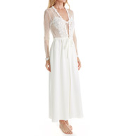 Flora Nikrooz Showstopper Charmeuse Long Wrap Robe With Lace 7534l