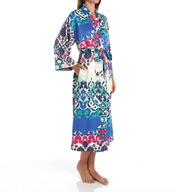 N by Natori Sleepwear Turkish Floral Printed Charmeuse Long Robe ZC4005