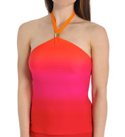 Lauren Ralph Lauren Island Ombre High Neck Wireless Tankini Swim Top LR55G89